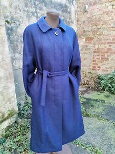 Vtg Original 50s MADUSON Loden Blue Textured Wool Long Trench Coat 10/12 Superb.