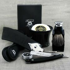 Complete Barber Shaving Set Straight Razor/Cut Throat & Pure Black Badger Brush