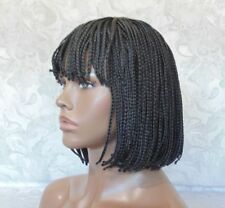 Short Black Bob Micro Box Braids Heat Resistant Full synthetic Wig - #7