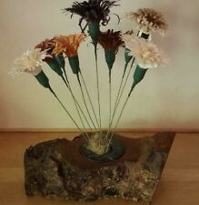 Unique Wood Flower Arrangement in Polished Wood Log - Handmade Work of Art