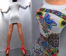 Unique Color Kristall Grau Neu Damen Perfect Fit K70 Strass Top Dress Kleid L/XL