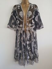 NEW Ex New Look 8-18 Floral Lace Longline Kimono Top Cardigan Black & White