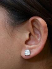 0.50 Carat Cushion Cut Real Diamond Stud 14K Solid White Gold Single Earring