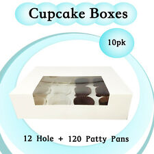 Cupcake Box 12 Hole Window Face 10/Pk + 120 Patty Pans Cake Boxes Cake Boards