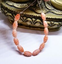 12 RARE NATURAL MEDITERRANEAN SEA ITALIAN ANGEL SKIN CORAL CARVED BEADS 8-9mm
