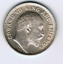 1905 India 1/4 Quarter Rupee silver coin : 2.9g