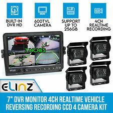 """7"""" DVR Monitor 4ch Realtime Reversing Recording CCD Camera Kit 4 Cameras 600tvl"""