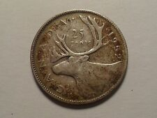 1952 NICE CANADA 25 CENT 0.8000 SILVER ASW 0.15000 LOW MINTAGE 8,859,642!