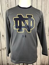 Under Armour Youth Heat Gear Mesh Notre Dame Gray LS Sweatshirt Loose Fit YXL