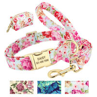 Floral Personalized Nylon Dog Collar and Leash set & Waste Poo Bag Dispenser SML