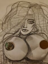 Simon Bisley Original Artwork Frontal View Nude Babe #1 Pencil Drawing 1Of AKind
