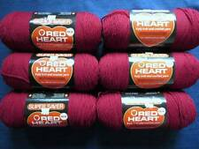 Lot of 6 Skeins Red Heart Super Saver Yarn 8 oz 376 Burgundy E300  Coats & Clark