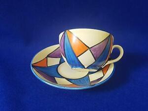 Clarice Cliff Original Bizarre Cup & Saucer w Bright Colour Geometric Pattern
