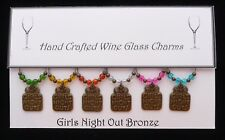 Girls Night Out Themed Set of Wine Glass Charms Hen Party Birthday Gift Bronze