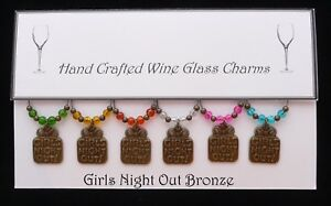 Girls Night Out Set of 6 Wine Glass Charms  Handmade Just for You