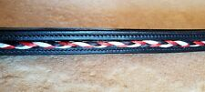 Braided Leather Browband - Black, White and Red -  Full Size
