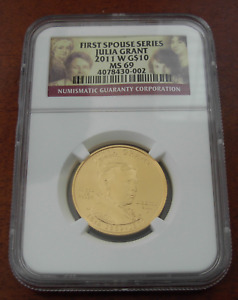 US 2011W Gold 1/2 oz $10 NGC MS69 First Spouse Series Julia Grant