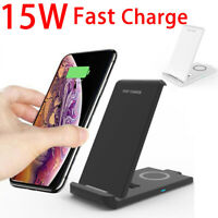 15W Qi Wireless Fast Charger Charging Pad Stand Dock For iPhone 12 Pro / Samsung