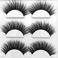 SKONHED 3 Pairs 3D Mink Hair False Eyelashes Messy Natural Think Lashes Wispy~~-