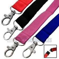 2x Coloured Textile Neck Lanyards - Metal clip and Plastic Safety Release