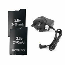 2 Battery for Sony PSP 2000/3000 Slim & Lite 3.6v 2400Mah +UK AC Charger Adapter