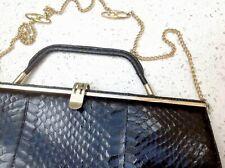 50s 60s Vintage Snakeskin Handbag Clutch Black Leather Shoulder Bag Metal Frame