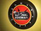 ** NatBo National Bohemian Beer Bar Man Cave Advertising Clock Sign