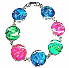 Genuine Paua Sea Shell Ying Yang Bracelet - Multi Colored