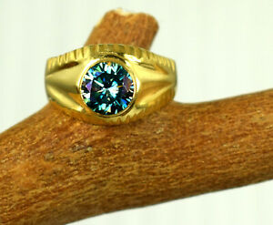 Beautiful Design Blue Diamond Solitaire Gold Finish Ring 4.15 Ct Round Cut