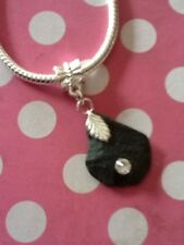 Surf Tumbled Slate With CZ European Bead Charm Or Pendant, Interchangeable