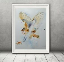 Large ORIGINAL new signed watercolour ART PAINTING of an Owl nature GIFT idea