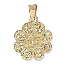 Star Pendant,Flower Design, 1.1g, 13x15mm * 14k Yellow Gold Star of David,Jewish
