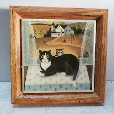 Cat and kitten framed Folk art ceramic tile vtg Kimberly Enterprises Usa
