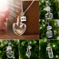 Chic Lucky Glass Wishing Bottle Real Dandelion Seeds Pendant Necklace Chain Gift