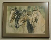 Vintage Signed Starr Abbott Watercolor Painting Four Horses Original Collectible