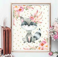 A4 Boho Raccoon Nursery Print Pink Gold Floral Confetti Baby Shower UNFRAMED