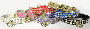 Rhinestone Dog Collar 2 rows Clear Crystal 8 colors Pet Collars crystals