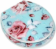 FUNKY SHABBY CHIC BLUE PINK VINTAGE FLORAL ROSE RESIN TOILET SEAT METAL HINGES