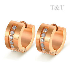 T&T Stainless Steel Thick Hoop Earrings With CZ Rose Gold (EX41)