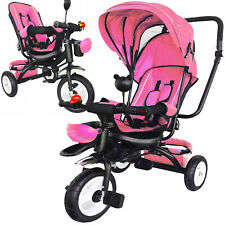 Kinderdreirad Sitz drehbar  mit Dach Lenkstange Kinder 2-5 Jahre Fahrrad pink