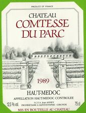 Etiquette de vin-Bordeaux-Haut Médoc(1989)-Château Comtesse du Parc-N°457b