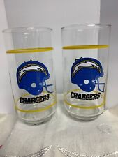New listing 2 San Diego Chargers Drinking Glass Tumbler Cup Mobil Promotion NFL 14 Oz