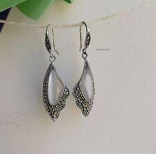 Genuine 925 sterling silver butterfly wing WHT opal dangle earrings L3.2X1.3cm