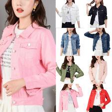 Women Casual Denim Jacket Slim Jeans Coat Casual Long Sleeve Button Outwear Tops