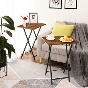 HOOBRO Set of 2 Folding TV Tray Table Living Room Portable Wooden Furniture