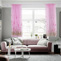 Qu_ Fresh Petunia Flower Window Short Curtain Room Balcony Drape Home Decor Sera