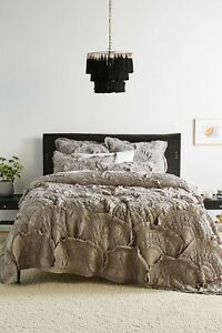 New Anthropologie Rivulets Grey Quilt - Full