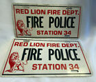 Two Vtg Red Lion Fire Department Fire Police Station 34 Aluminum License Plates