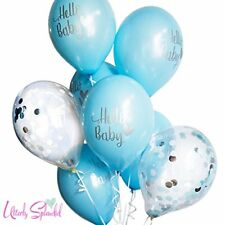 Utterly Splendid 8 Blue Hello Baby Confetti Balloons FREE RIBBON
