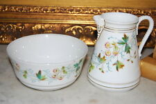 Beautiful Early Old Paris Style Porcelain Flower Decorated Creamer And Bowl